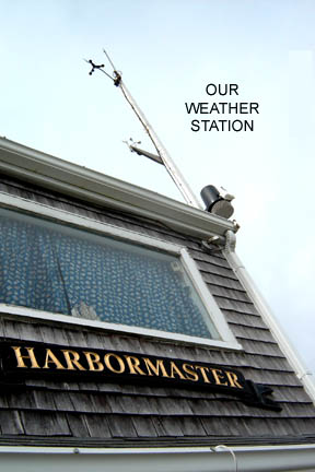 We are one of a handful of civilian Storm Warning stations and continue to fly the weather warning flags. Click to find video of our weather station.