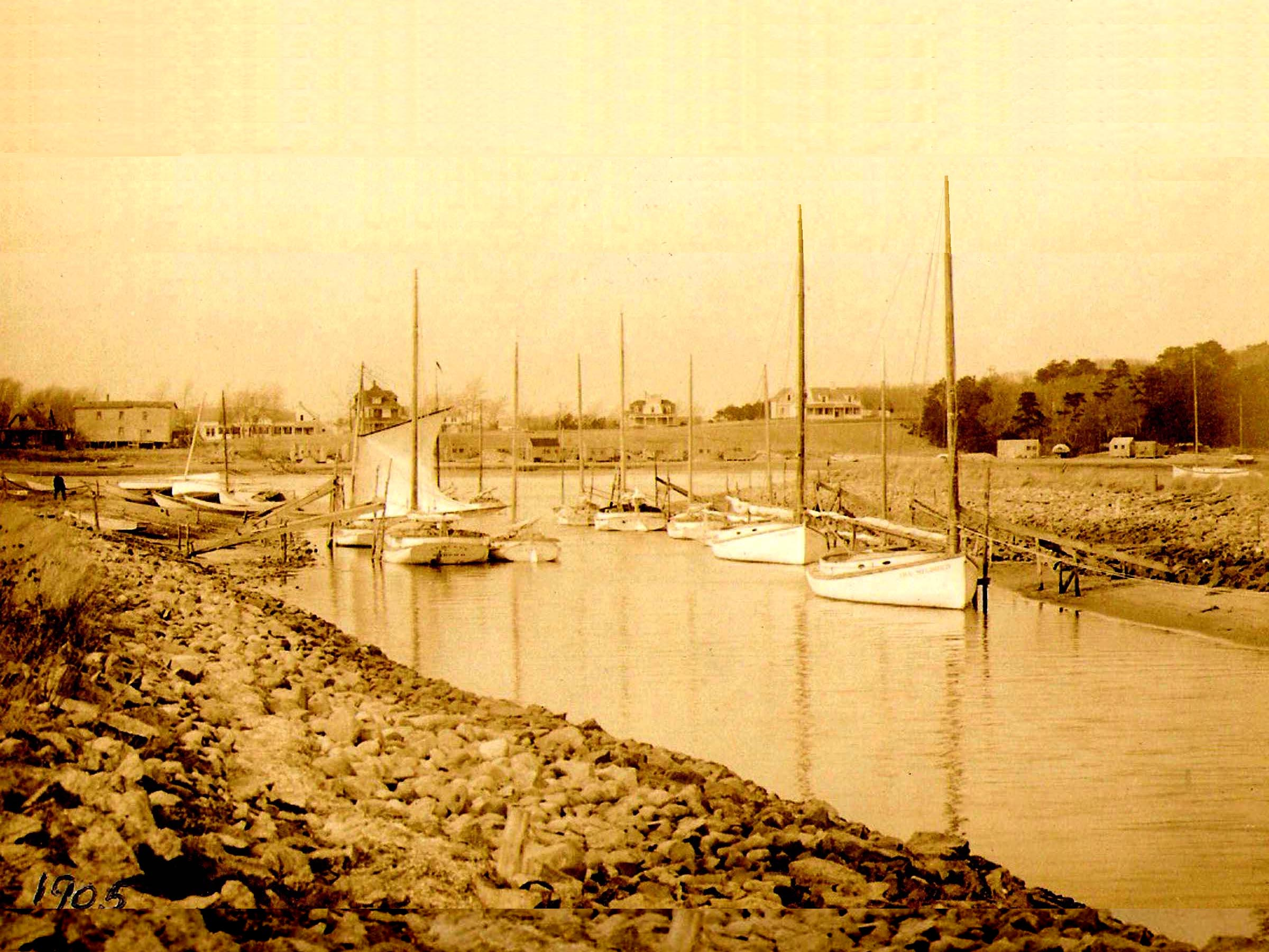Wychmere Harbor channel catboat fishing fleet 1905